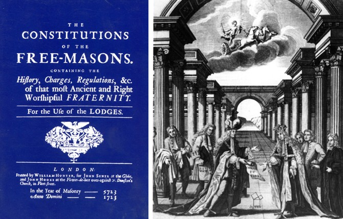 """""""Конституции на свободните зидари"""", 1723 г., издание на Quatuor Coronati, ОВЛБ. Горе - Джон, втори херцог Монтагю, Велик магистър на Великата ложа на Англия, предава Уставния свитък и пергел на наследника Филип, херцог Уортън."""